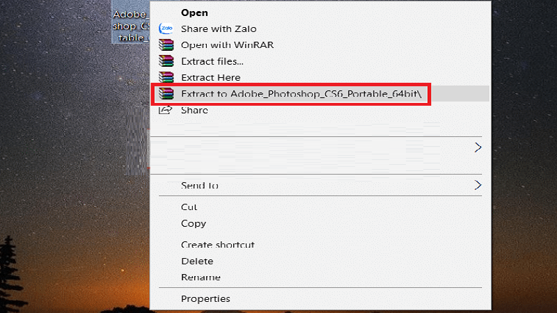 Giải nén file và chọn Photoshop portable cs6 để cài đặt