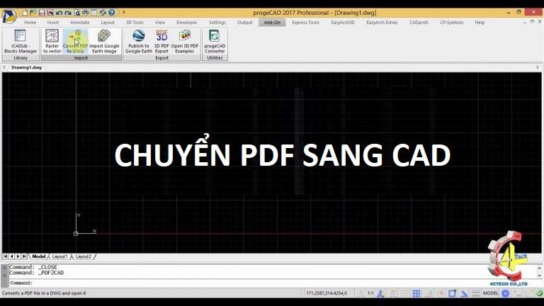 Chuyển pdf sang cad