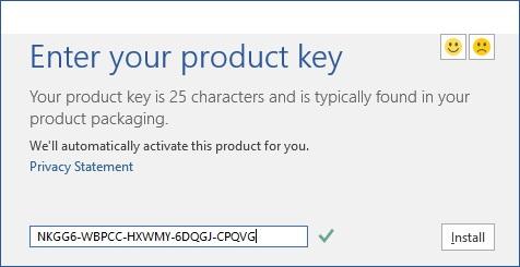 Nhập key Microsoft Office 2016 ở bước cài đặt